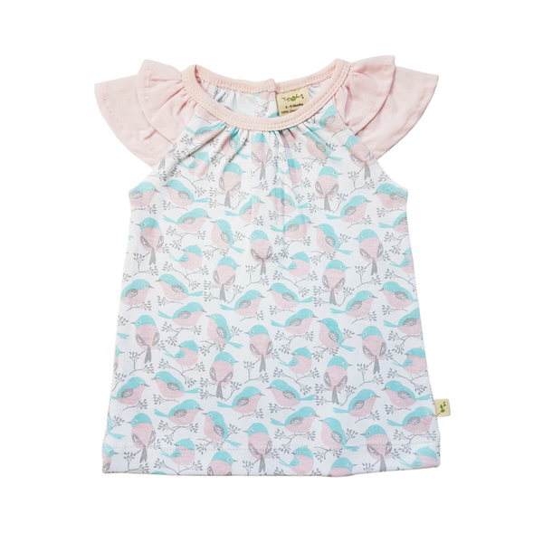 Organic Cotton - Baby Girl Flutter Tee - Love Birds