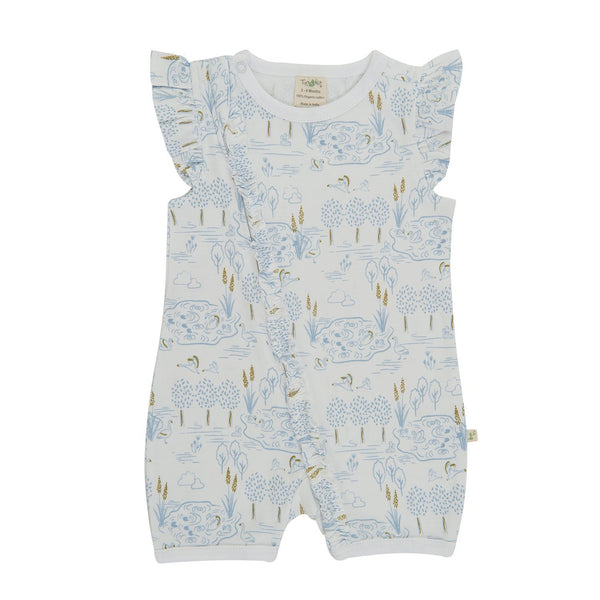 Organic Cotton  -Baby Cap Slv Zipsuit - Lakeside