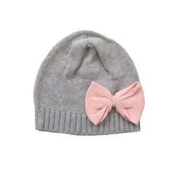 Organic Cotton Knitted Beanie With Bow - Soft Grey