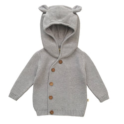 Organic Cotton - Baby Knitted Hoodie - Grey Marle