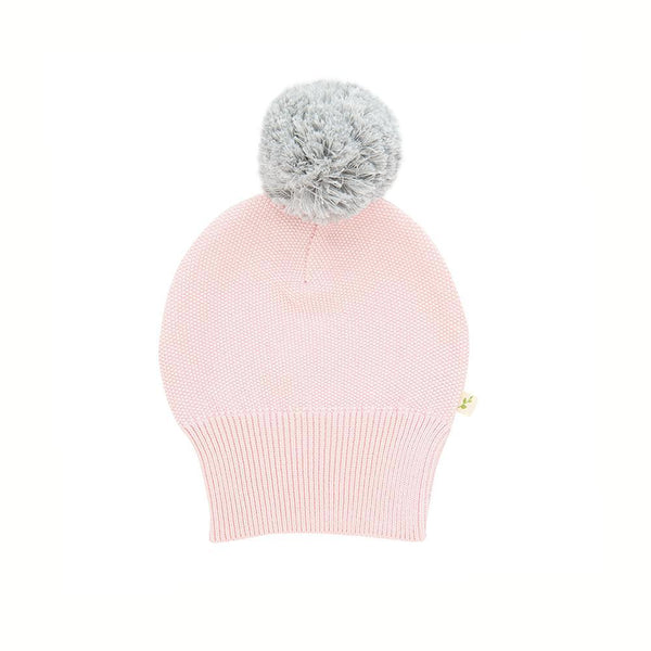 Organic Cotton Knitted Pom Pom Beanie - Soft Pink