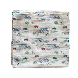 Organic Cotton Baby Muslin Wrap - Mountain Explorer