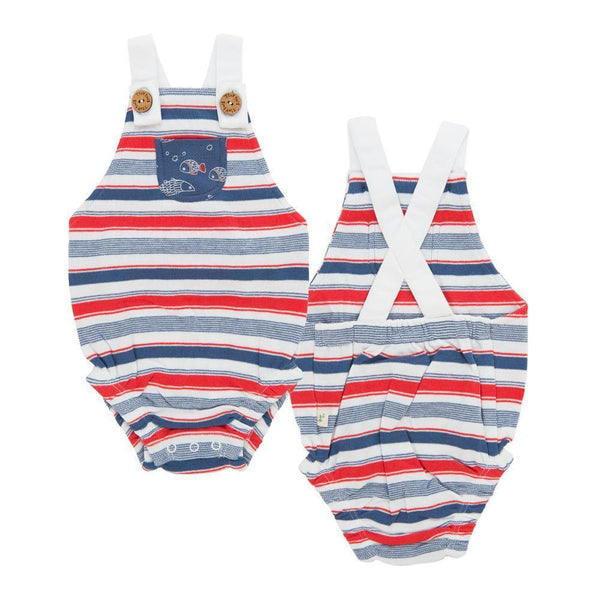Organic Cotton   Baby Romper -  Mariner Stripes