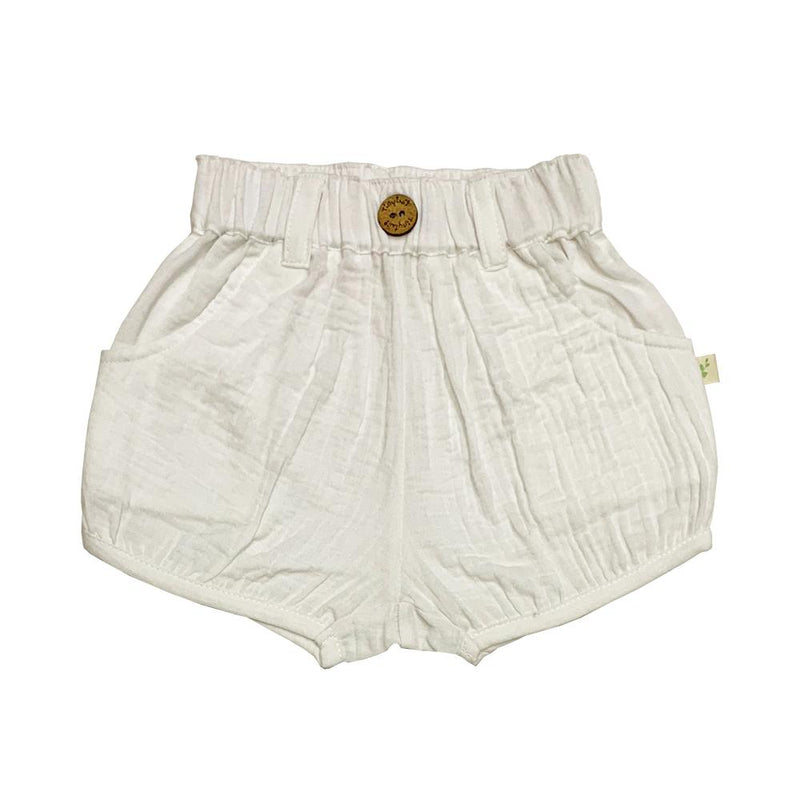 Organic Cotton Baby Woven Shorts -  White