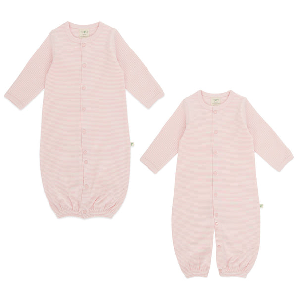 Organic Cotton Baby Sleepsuit - Pink Stripes