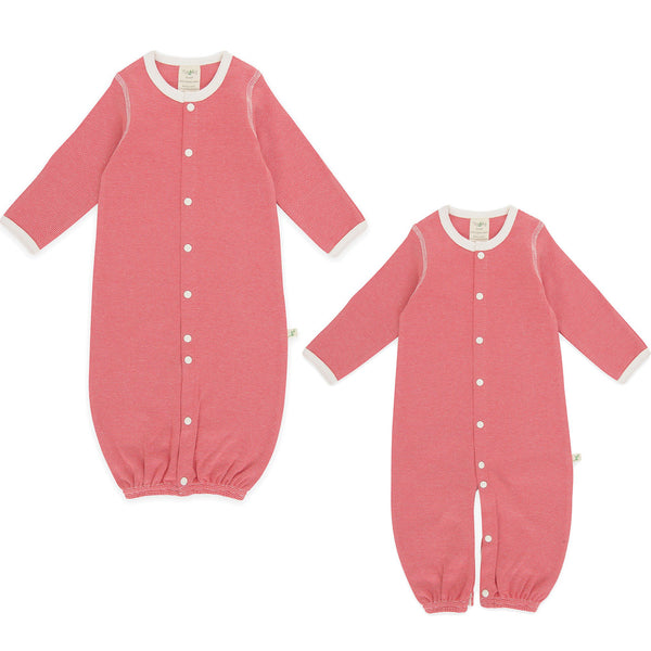 Organic Cotton Baby Sleepsuit -  Rasbperry Stripes