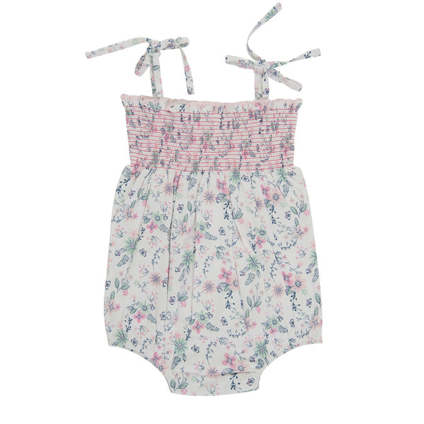 Organic Cotton Baby Smocked Bodysuit -  Pretty Petals .