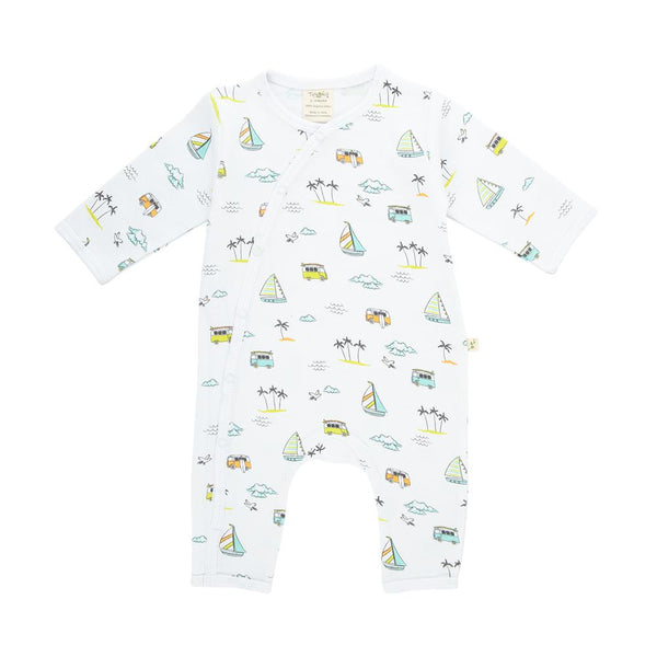 OrganicCotton Baby Snap Growsuit - Sail Boat