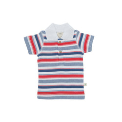 Organic Cotton Baby Polo T shirt -  Mariner Stripes