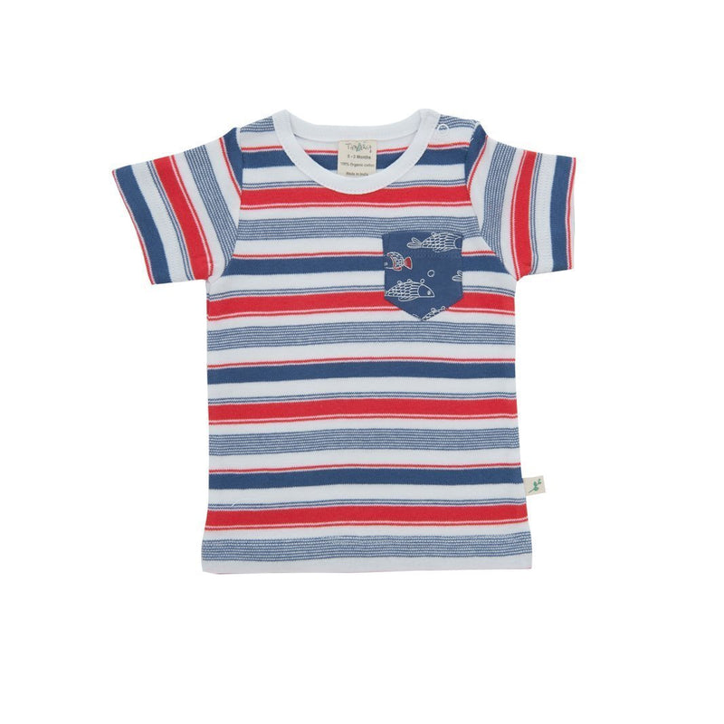 Organic Cotton Baby Round Neck Tee- Mariner Stripes .