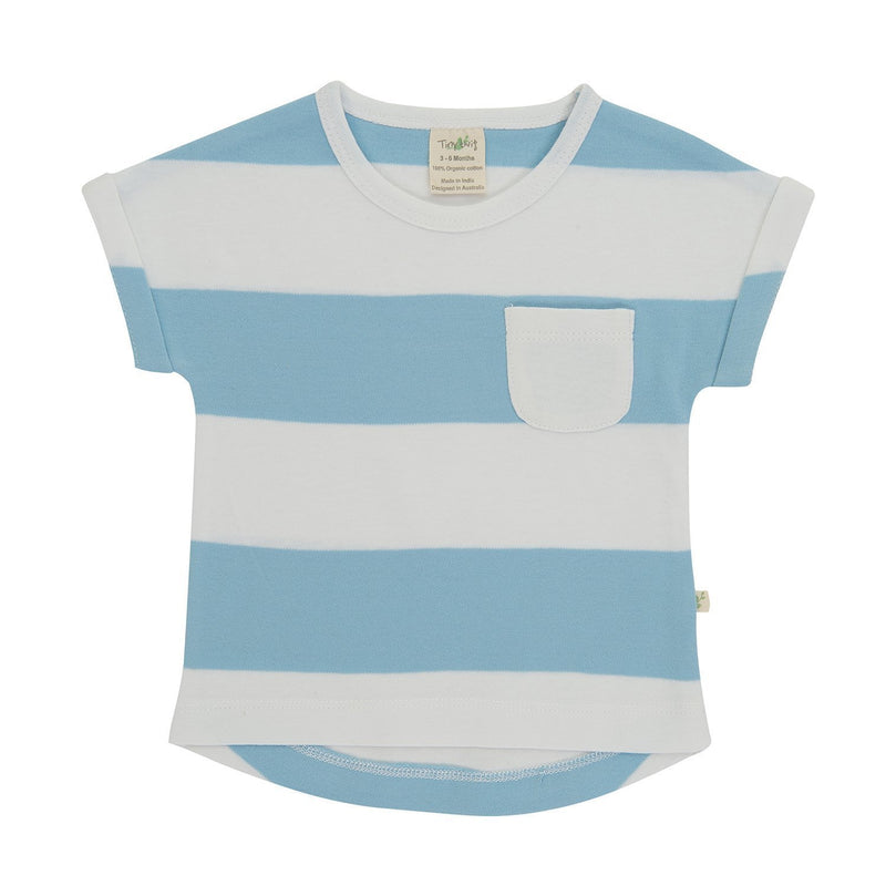 Organic Cotton Baby Bishop Tee - Nautical Stripes
