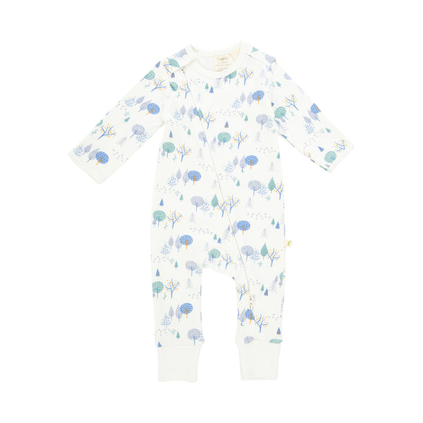 Organic Cotton Baby Zipsuit Long Sleeve - Arctic Trail