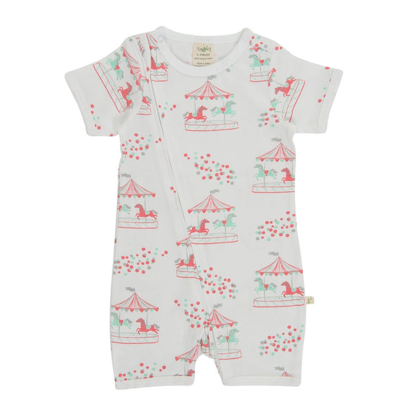 Organic Cotton Baby Zipsuit - Merry Go Round