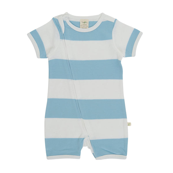 Organic Cotton Baby Zipsuit - Nautical Stripes
