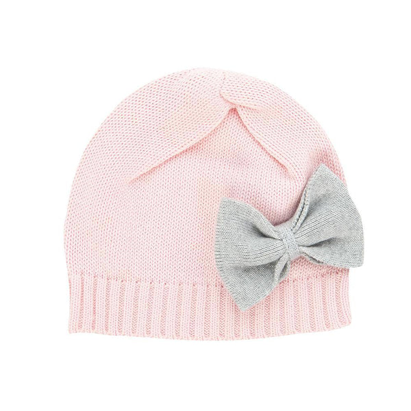 Organic Cotton Baby Beanie With Bow - Pink