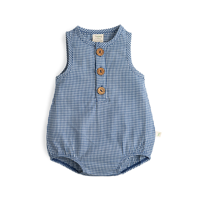 Navy Checks Organic Bubble Romper