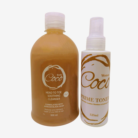 3 in 1 Cleanser with African Black soap & Prime Toner Combo