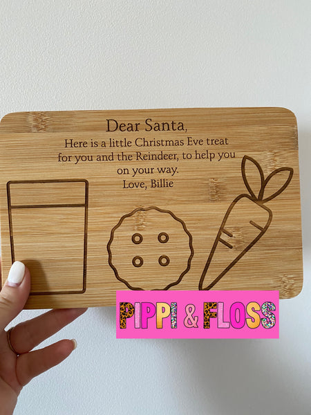 Wooden Christmas Eve Santa Tray Personalised