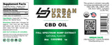Urban Daze CBD Oil Full Spectrum Tincture 1000mg product label