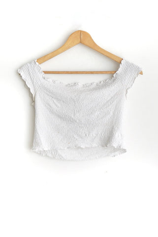 Crop top blanco nido de abeja