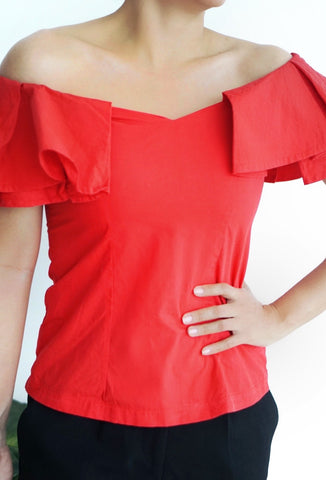 Blusa off-shoulder roja