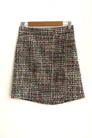 Falda tweed multicolor highwaisted