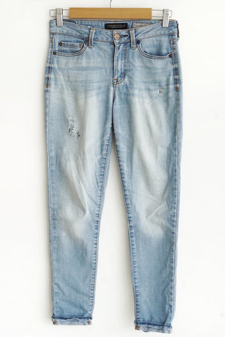 Jean high waisted cropped azul