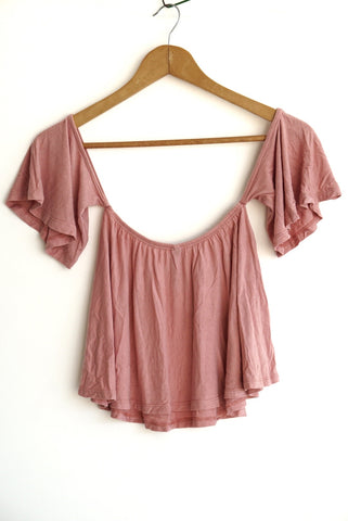Blusa rosa off-shoulder