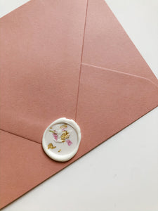 Marbled Flower Petal & Gold Wax Seal