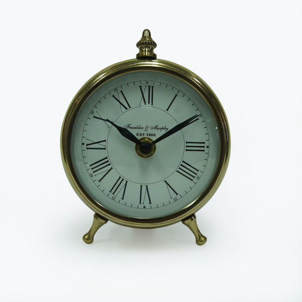 "Brass/Alum/Steel Table Clock 4"" Sb/Nkl Finish"