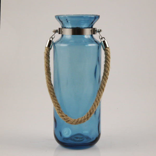 Abbey W/ Rope Handle Glass Vase (Blue)