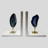 Agate With Marble & Copper  Bookends