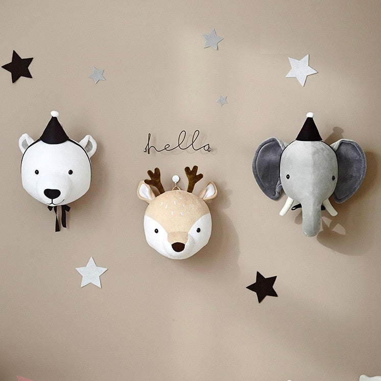 3D Animal Stuffed Head Wall Decoration