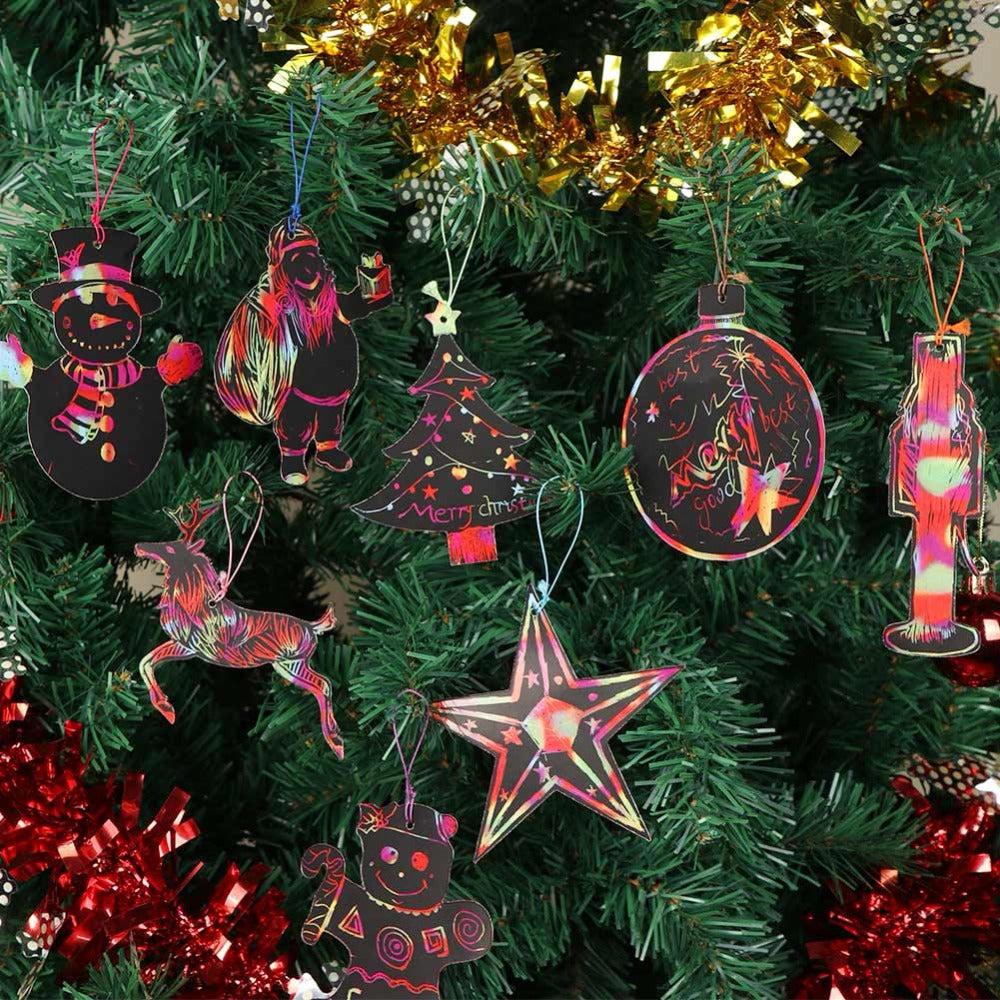 24pcs Magic Color Scratch Card Christmas Tree Ornaments