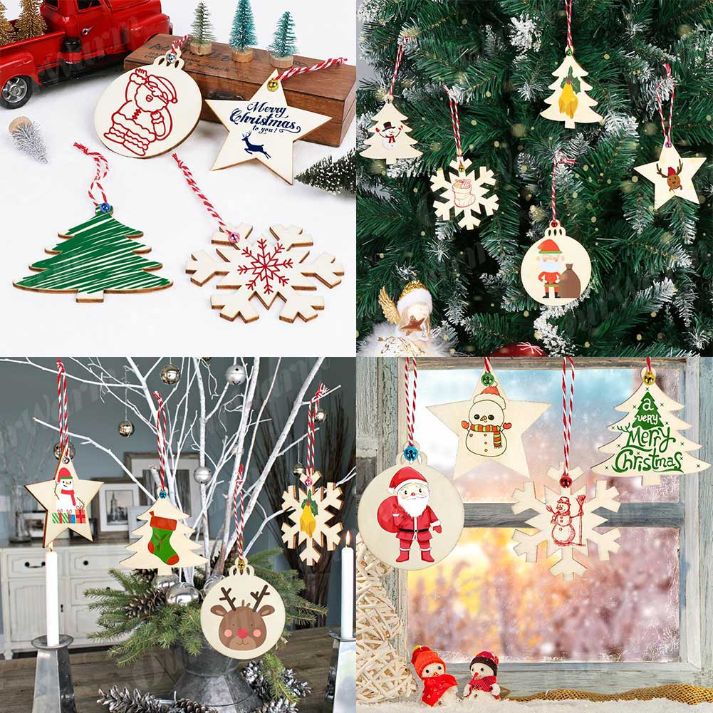 40Pcs DIY Wood Christmas Ornaments Tree Decoration