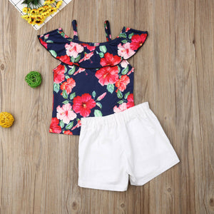 Imcute White Shorts Flower Off shoulder - Sofizara