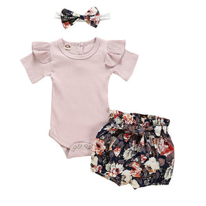 Summer Romper Tops Flower Short Pants Headband 3Pcs - Sofizara