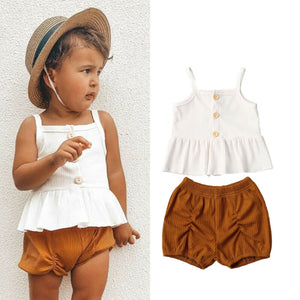 Pudcoco 2PCS Toddler Strap Dress Tops Shorts Pants Outfits - Sofizara
