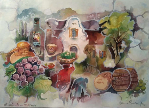 Winelands Monatge - Weinfarm Malerei Südafrika Kapstadt - Fine Art Painting wine farm South africa