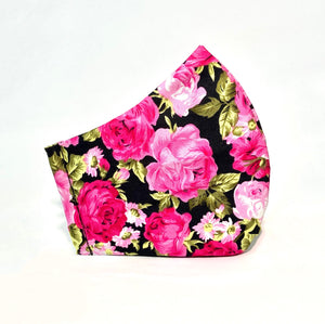 Pink Roses Print Cotton Face Mask