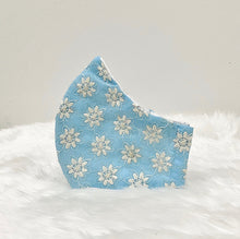 Load image into Gallery viewer, Baby Blue Filter Pocket Mask With Embroidered Flowers