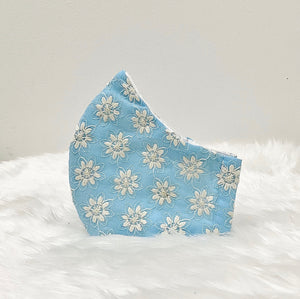 Baby Blue Filter Pocket Mask With Embroidered Flowers