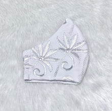 Load image into Gallery viewer, Embroidered White 'Shiny Silver Flowers' 100% Pure Cotton Mask