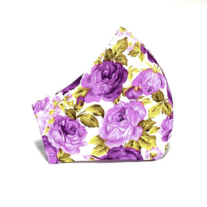 Purple Roses Printed Cotton Face Mask - Washable