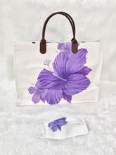 Load image into Gallery viewer, Purple Flower Faux Leather Tote Bag