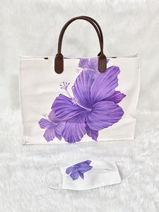 Purple Flower Faux Leather Tote Bag