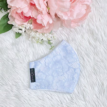 Load image into Gallery viewer, Delicate Lace Sky Blue Flowers 100% Pure Cotton Mask