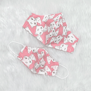 Mom & Kid Set Pink Kitty 100% Pure Cotton Mask