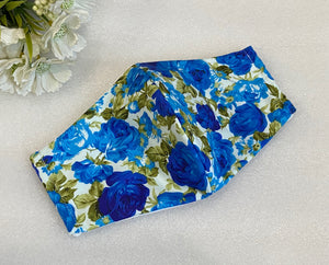 Blue Roses Print Washable Face Mask