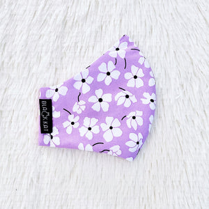 Flowers On Violet 100% Pure Cotton Mask
